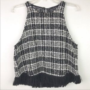 ZARA | Wool Plaid Fringe Crop Top Black & White L